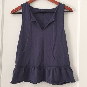 Abercrombie & Fitch Tops - A&F peplum tank with raw edge hem and eyelet trim